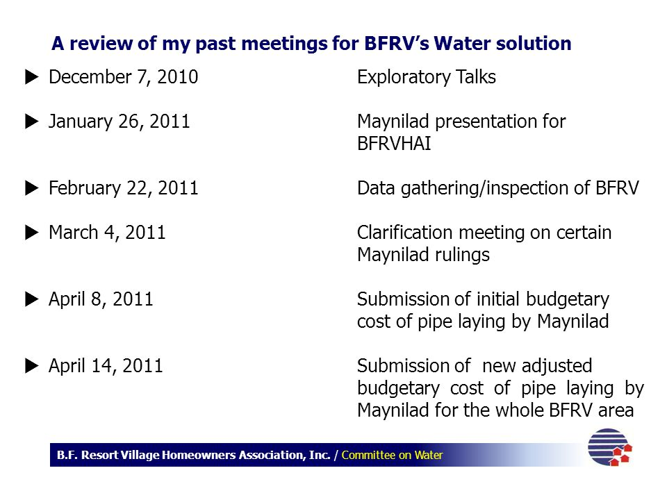 A review of my past meetings for BFRV's Water solution