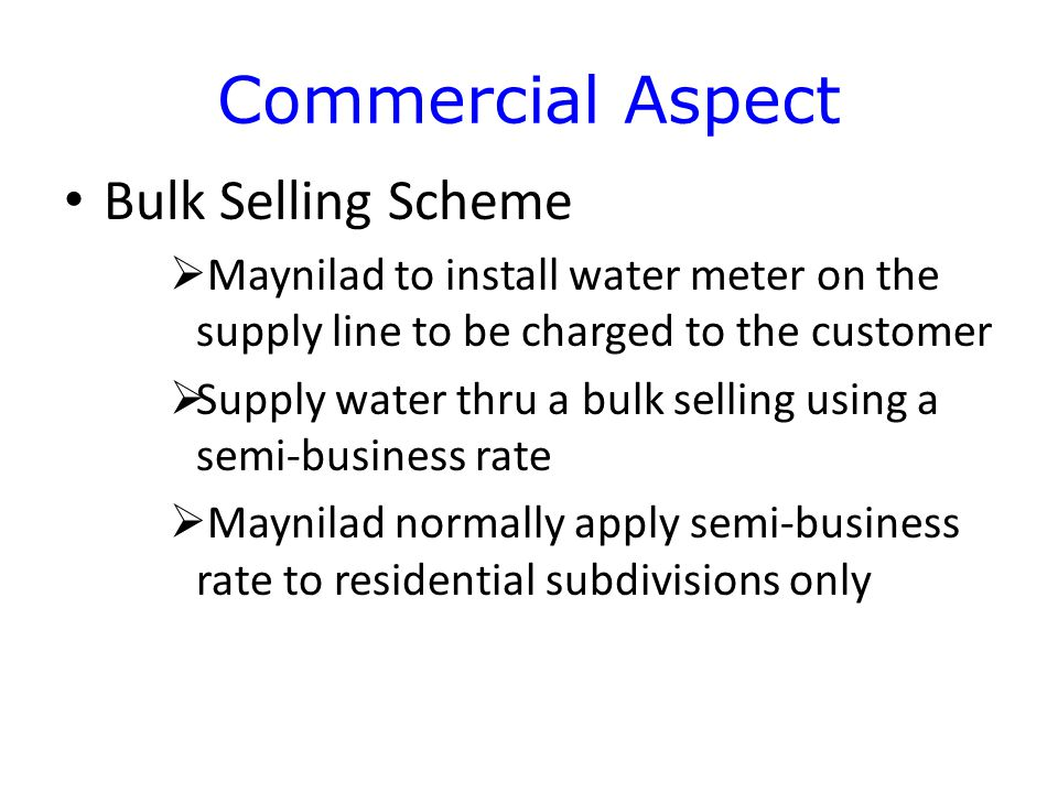 Commercial Aspect Bulk Selling Scheme