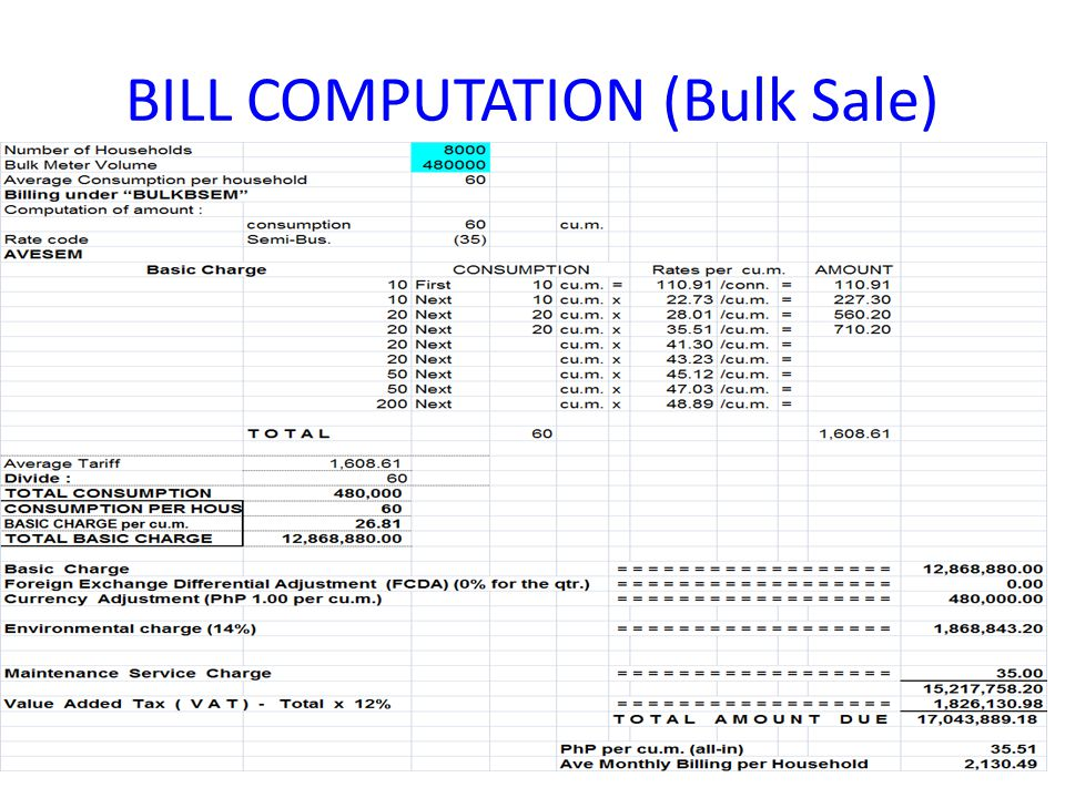 BILL COMPUTATION (Bulk Sale)