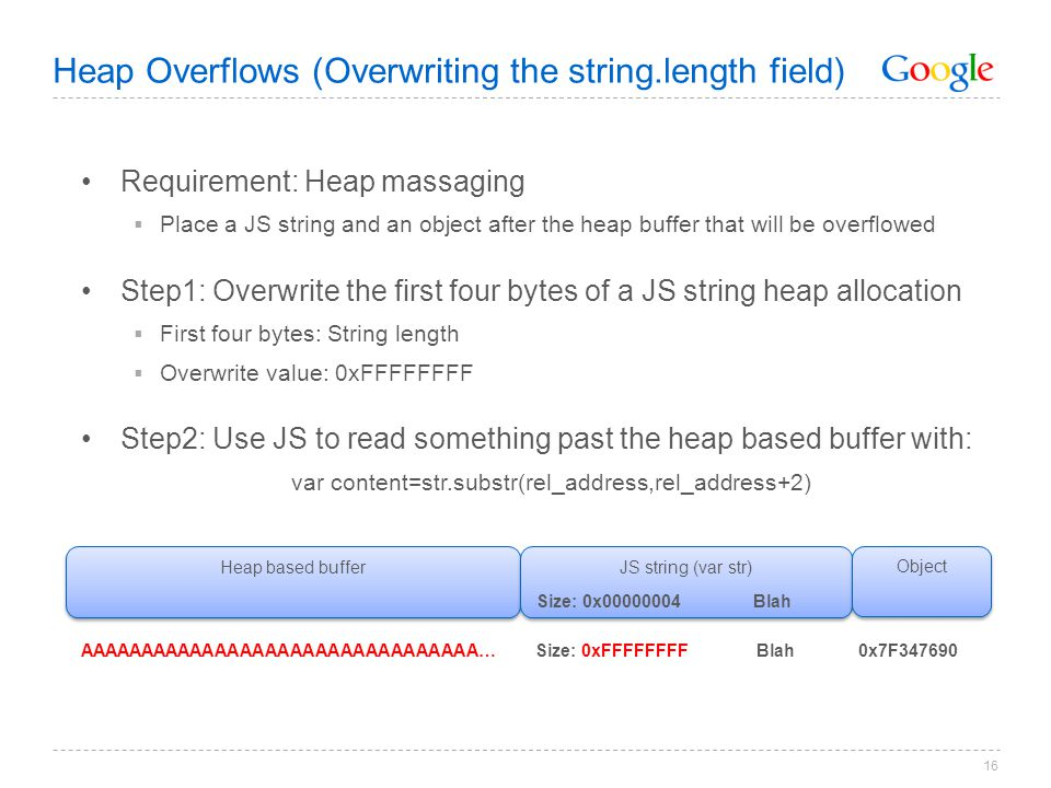 Heap Overflows (Overwriting the string.length field)
