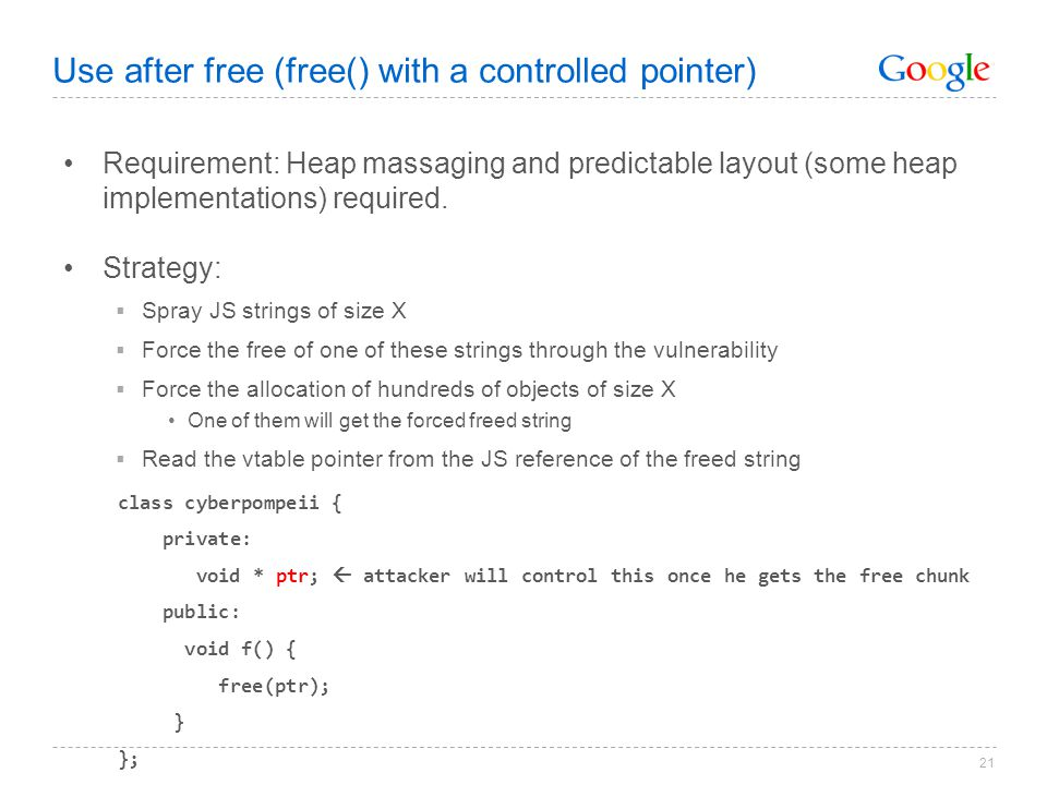 Use after free (free() with a controlled pointer)
