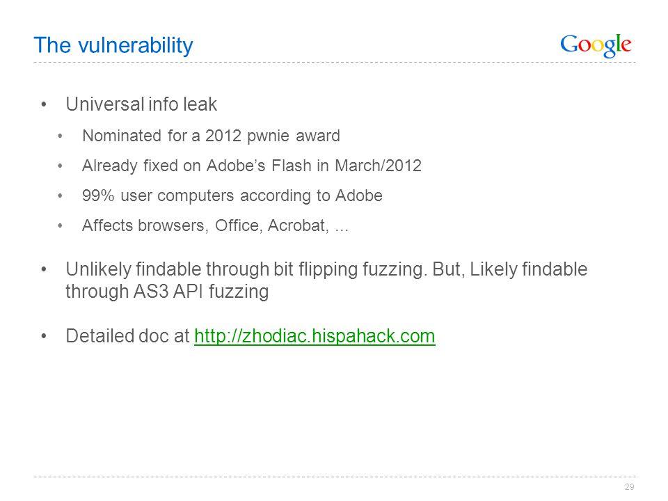 The vulnerability Universal info leak