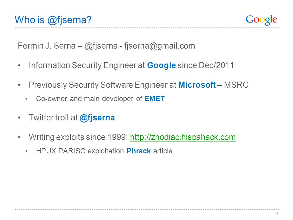 Who is @fjserna Fermin J. Serna – @fjserna - fjserna@gmail.com