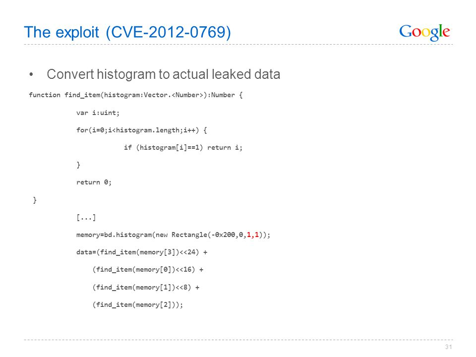 The exploit (CVE-2012-0769) Convert histogram to actual leaked data