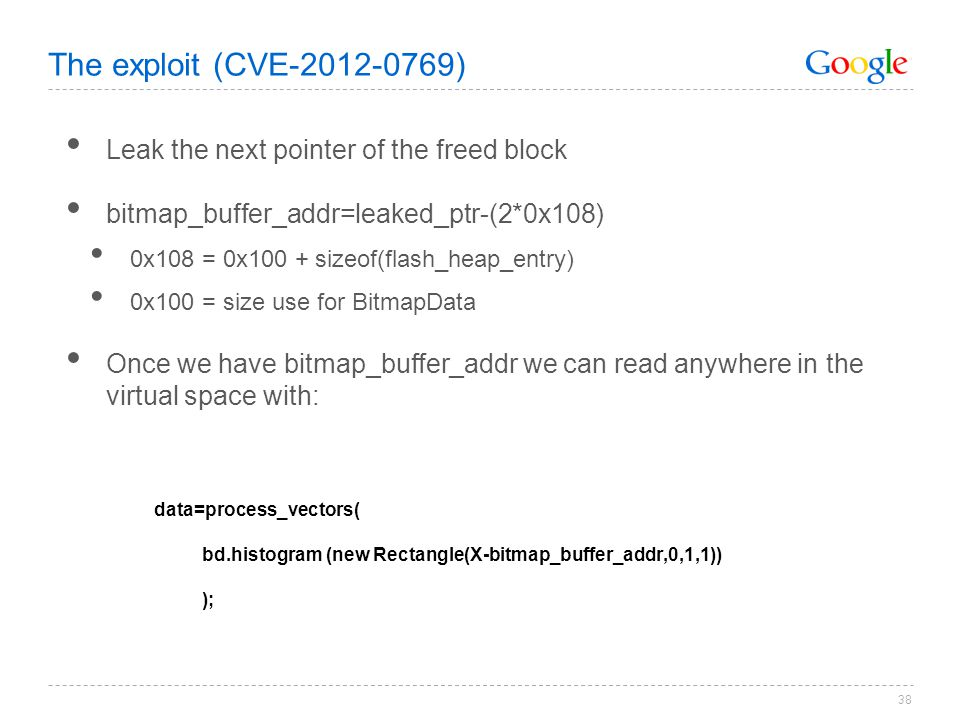 The exploit (CVE-2012-0769) Leak the next pointer of the freed block