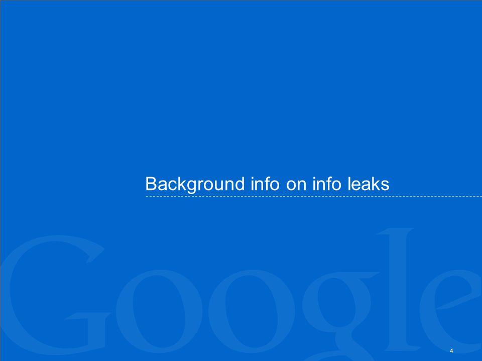 Background info on info leaks