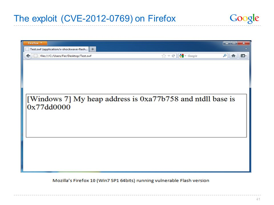 The exploit (CVE-2012-0769) on Firefox