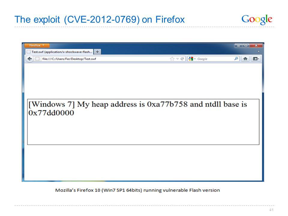 The exploit (CVE-2012-0769) on Firefox