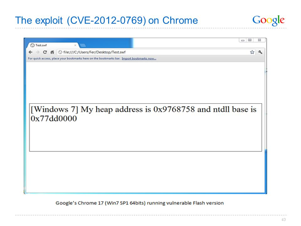 The exploit (CVE-2012-0769) on Chrome