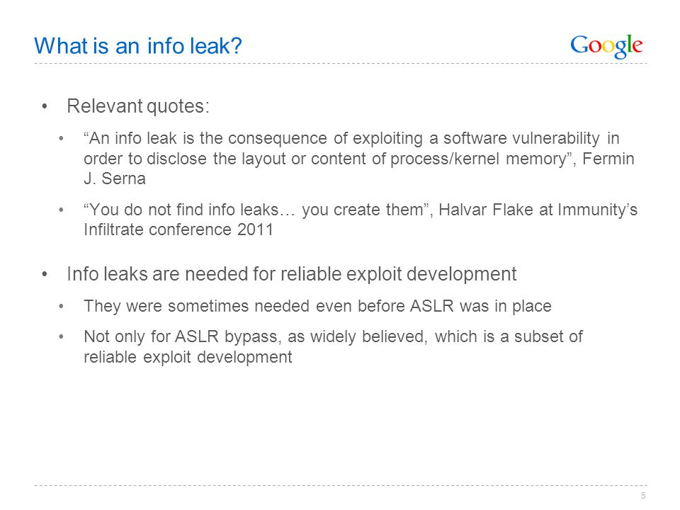 What is an info leak Relevant quotes: