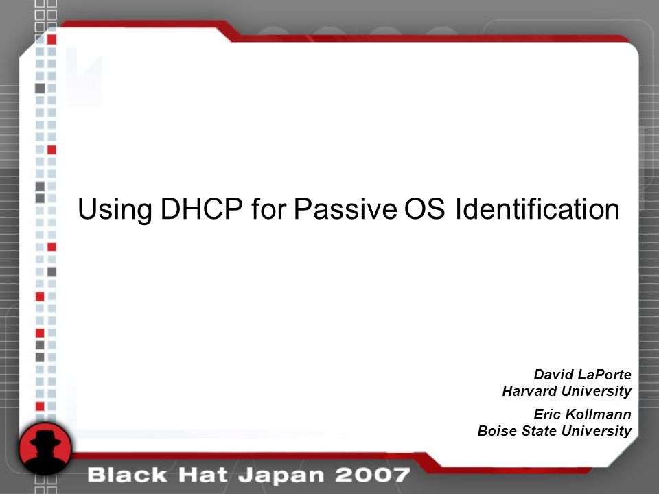 Using DHCP for Passive OS Identification