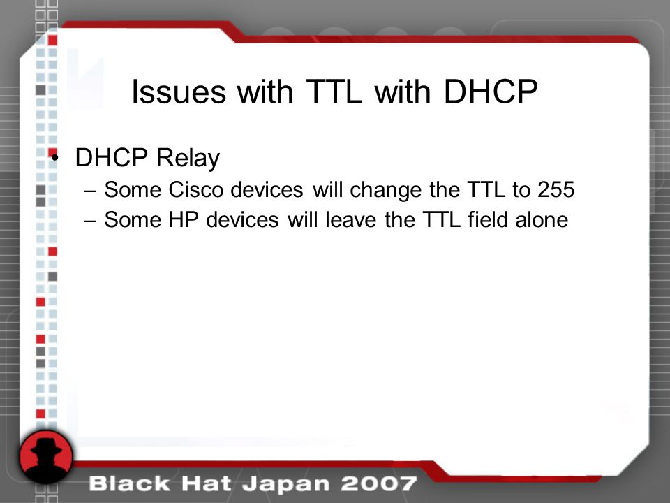 Issues with TTL with DHCP