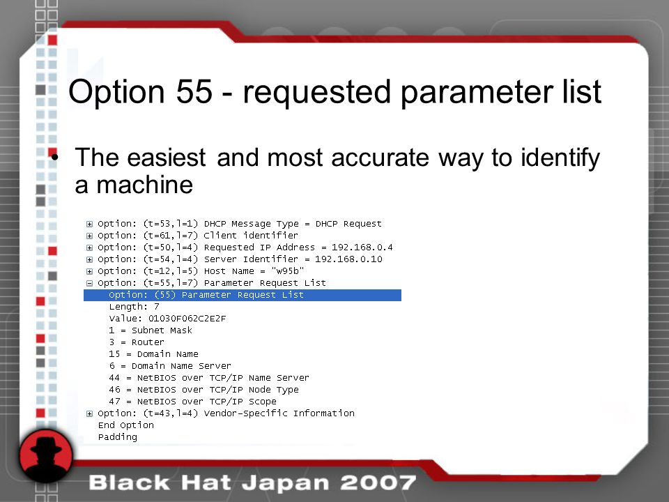 Option 55 - requested parameter list