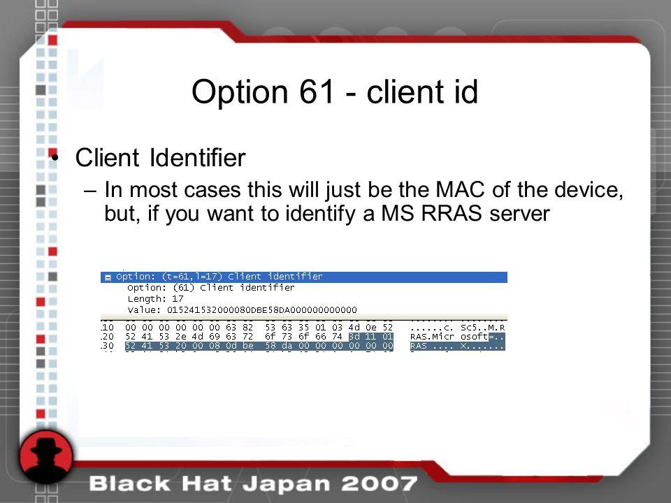 Option 61 - client id Client Identifier