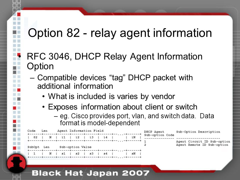 Option 82 - relay agent information