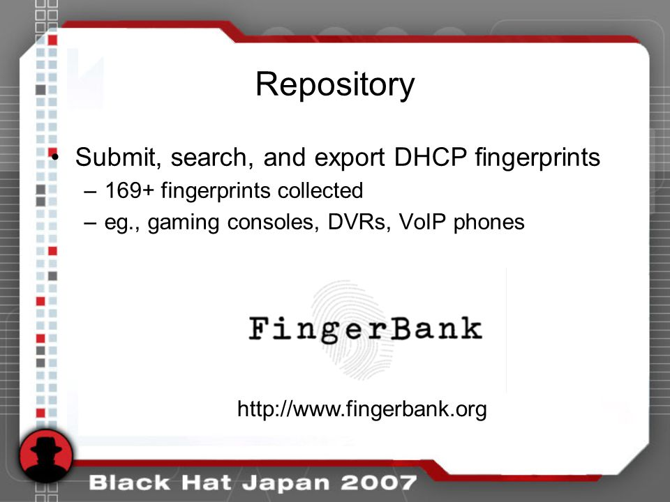 Repository Submit, search, and export DHCP fingerprints