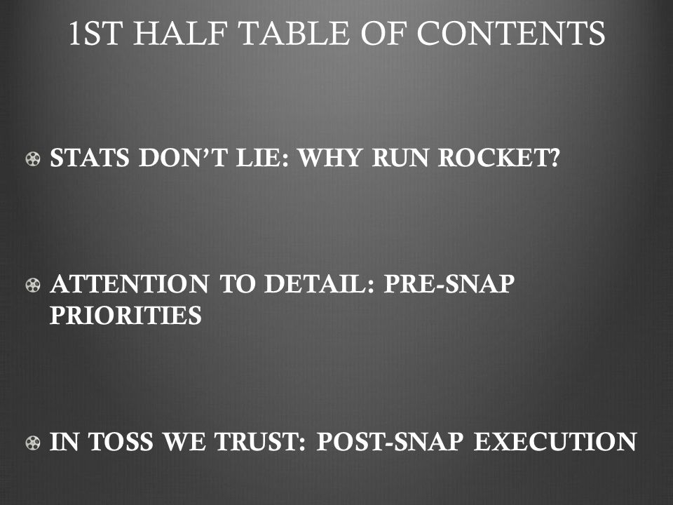 1ST HALF TABLE OF CONTENTS