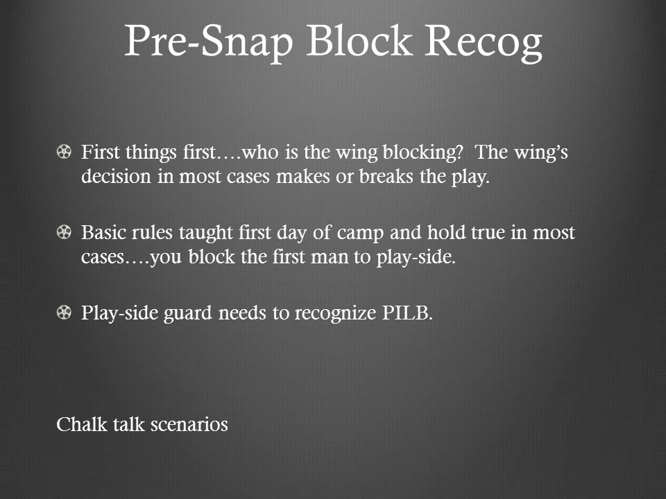 Pre-Snap Block Recog First things first….who is the wing blocking The wing's decision in most cases makes or breaks the play.