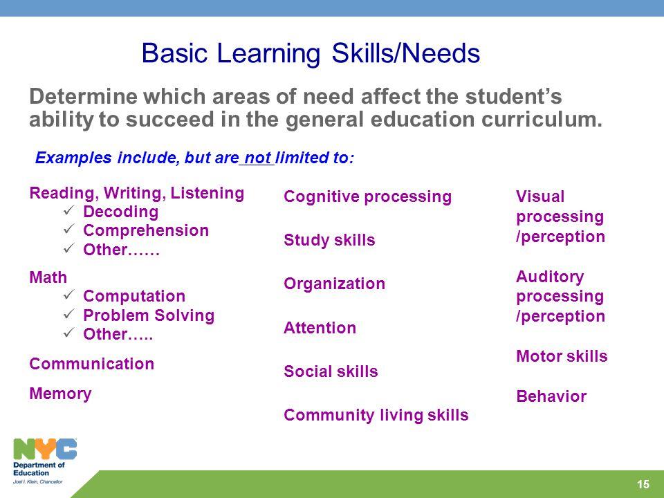 Basic Learning Skills/Needs