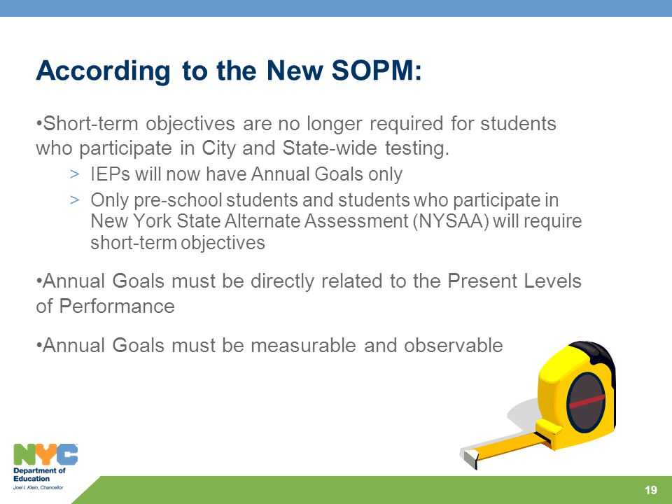 According to the New SOPM: