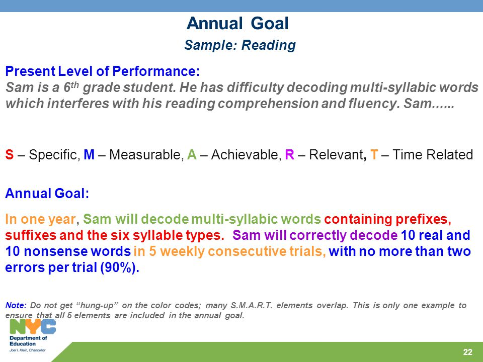 Annual Goal Sample: Reading