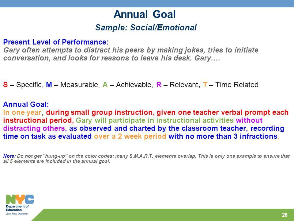 Annual Goal Sample: Social/Emotional