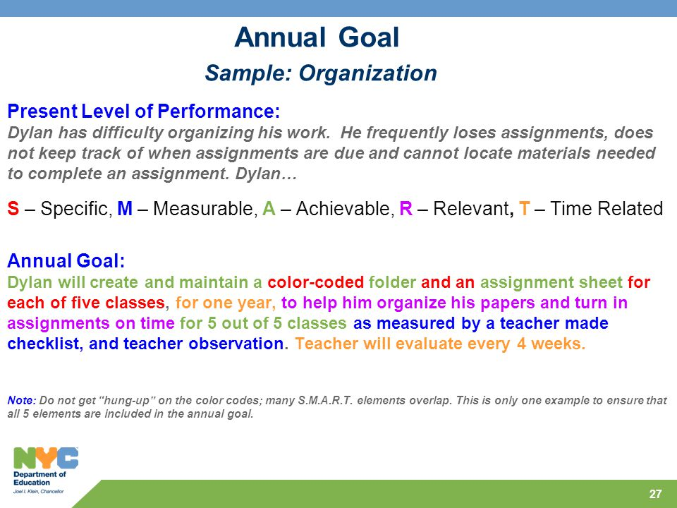 Annual Goal Sample: Organization