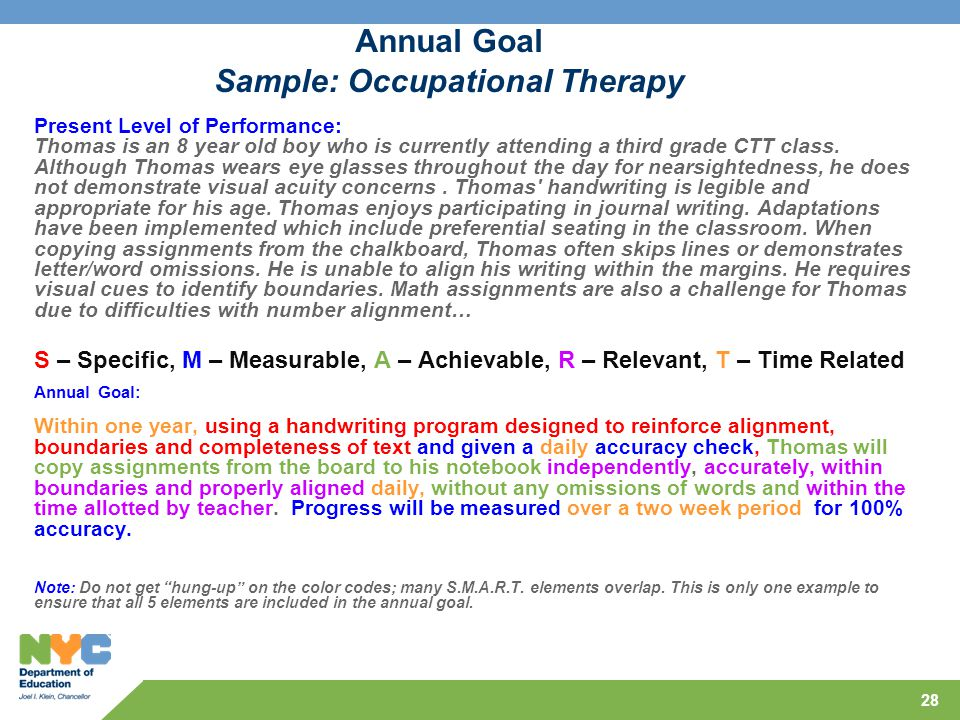 Occupational goals examples resumes