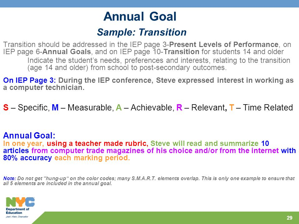 Annual Goal Sample: Transition