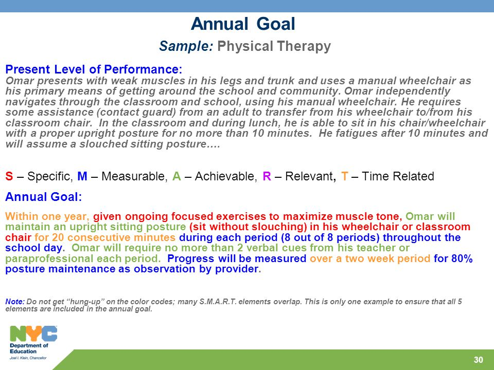 Annual Goal Sample: Physical Therapy