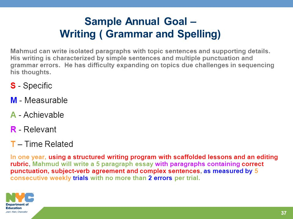 Sample Annual Goal – Writing ( Grammar and Spelling)