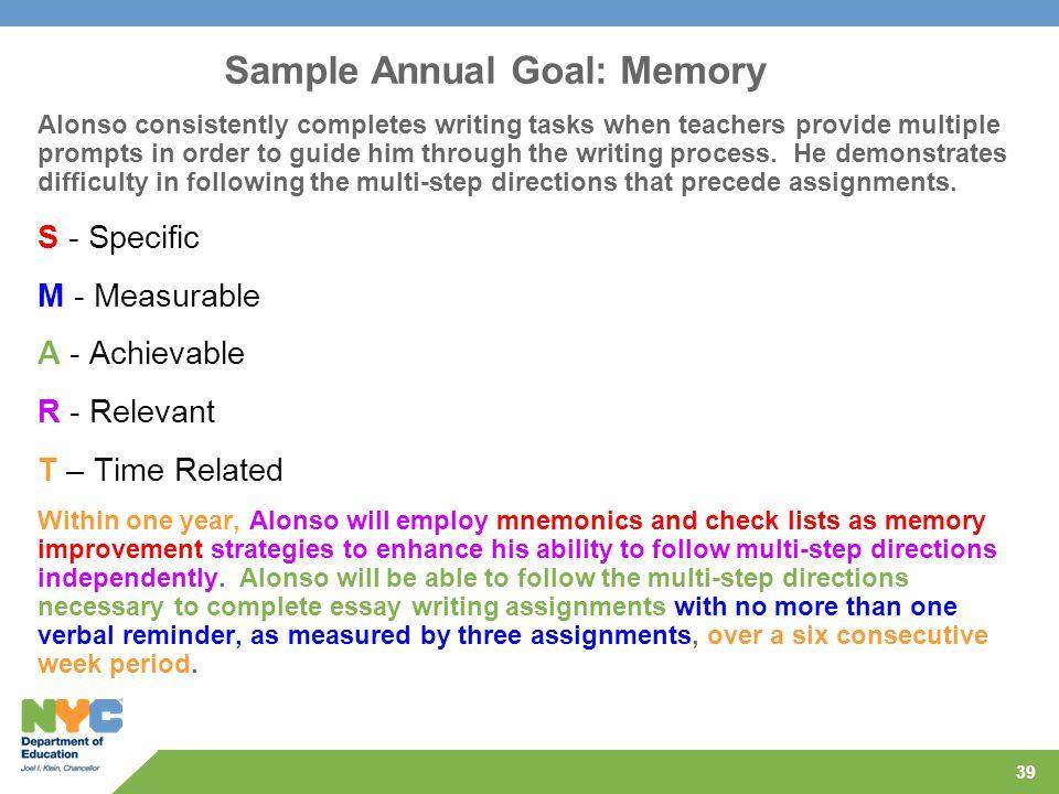 Sample Annual Goal: Memory