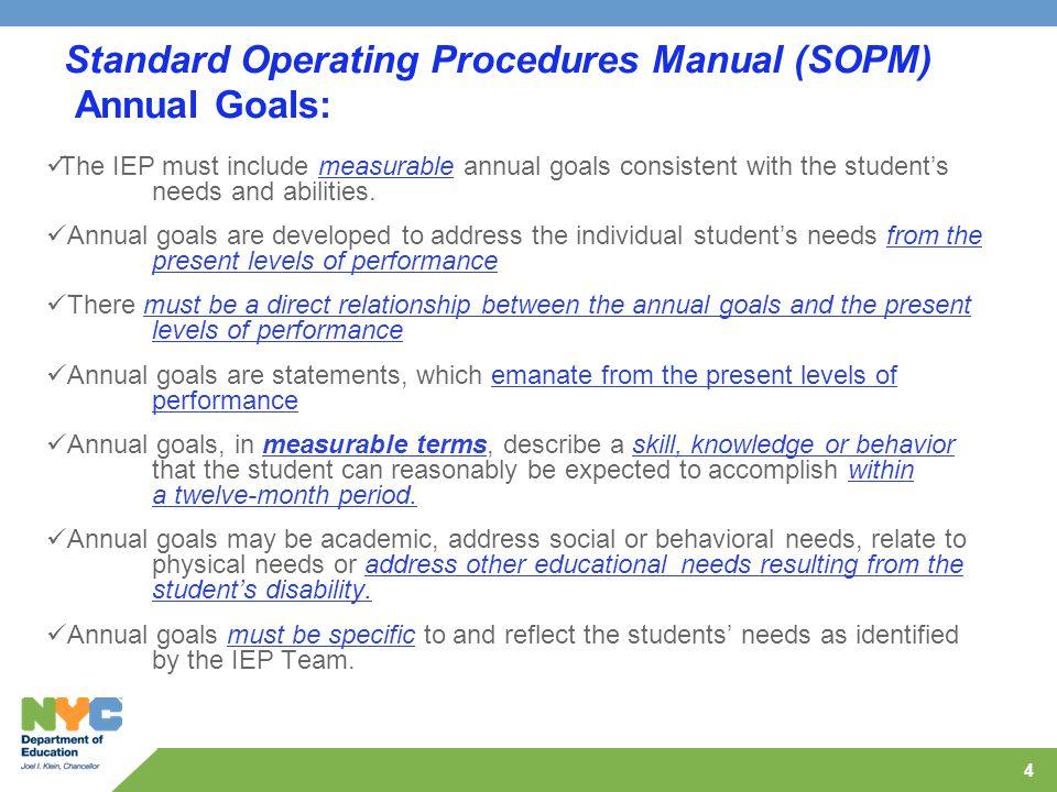 Standard Operating Procedures Manual (SOPM) Annual Goals:
