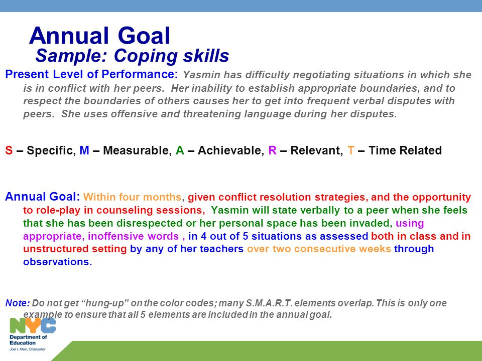 Annual Goal Sample: Coping skills