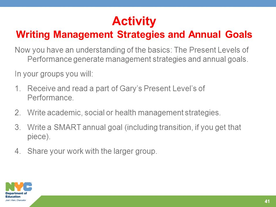 Activity Writing Management Strategies and Annual Goals