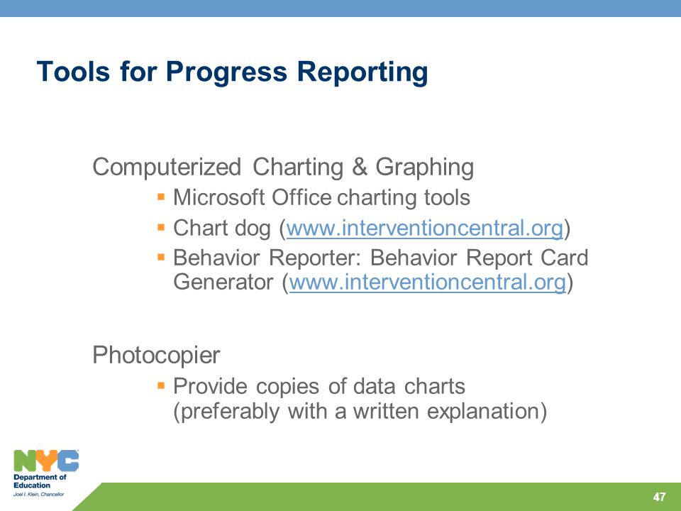 Tools for Progress Reporting