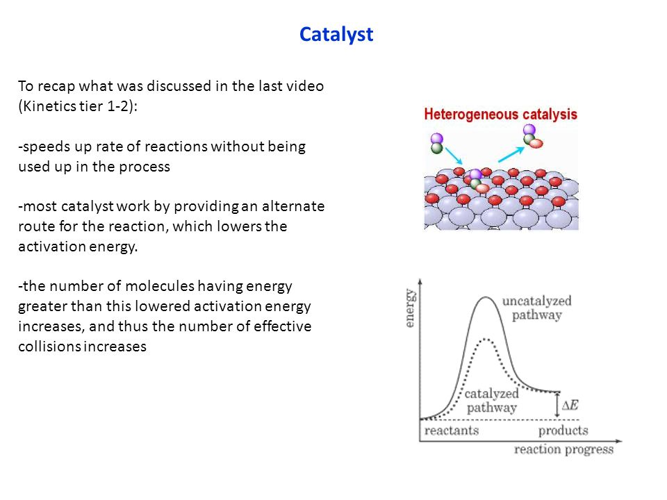 Catalyst To recap what was discussed in the last video (Kinetics tier 1-2): -speeds up rate of reactions without being used up in the process.