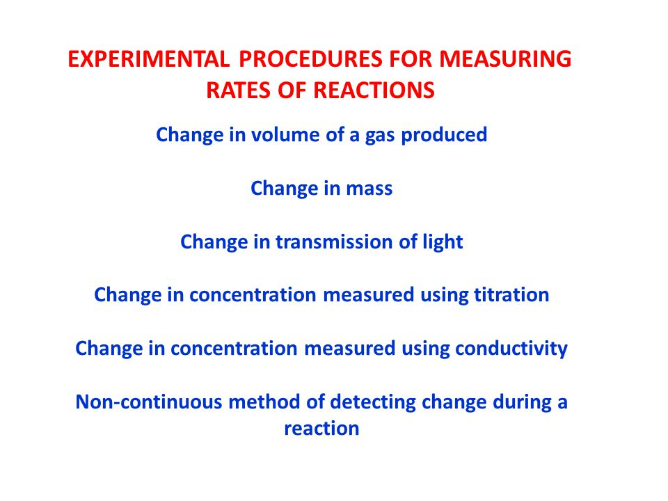 EXPERIMENTAL PROCEDURES FOR MEASURING RATES OF REACTIONS