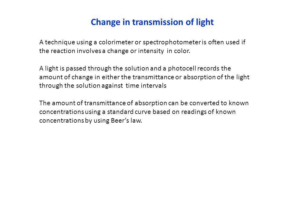 Change in transmission of light
