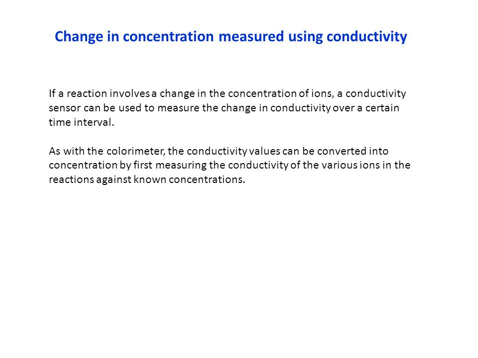 Change in concentration measured using conductivity