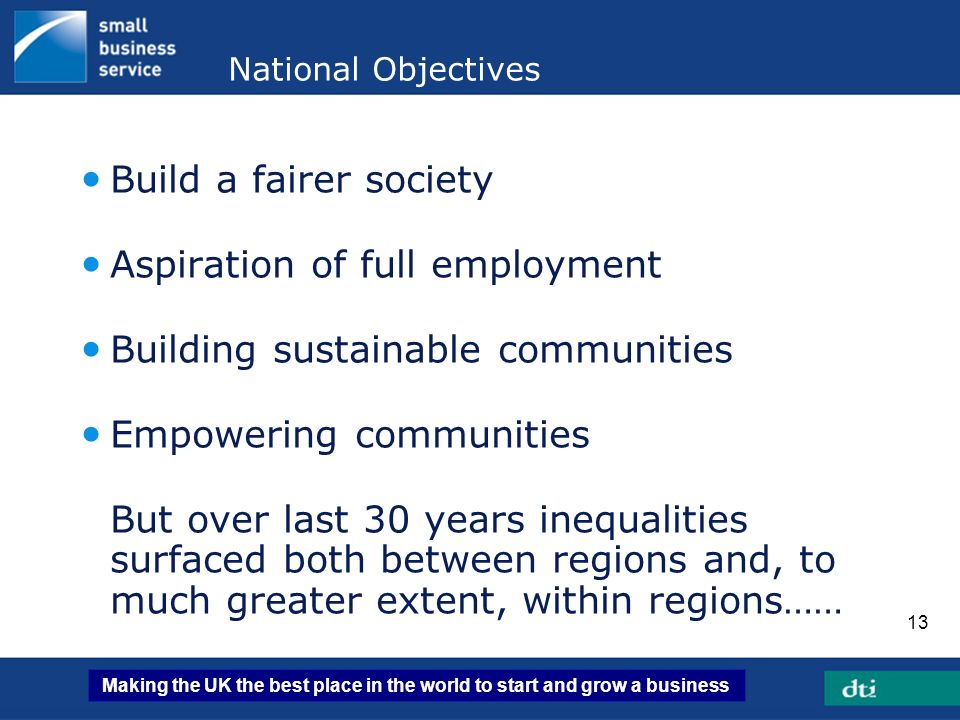 Aspiration of full employment Building sustainable communities