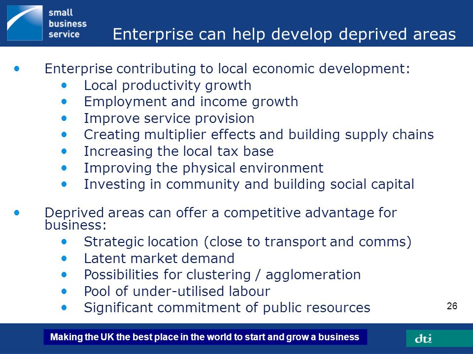 Enterprise can help develop deprived areas