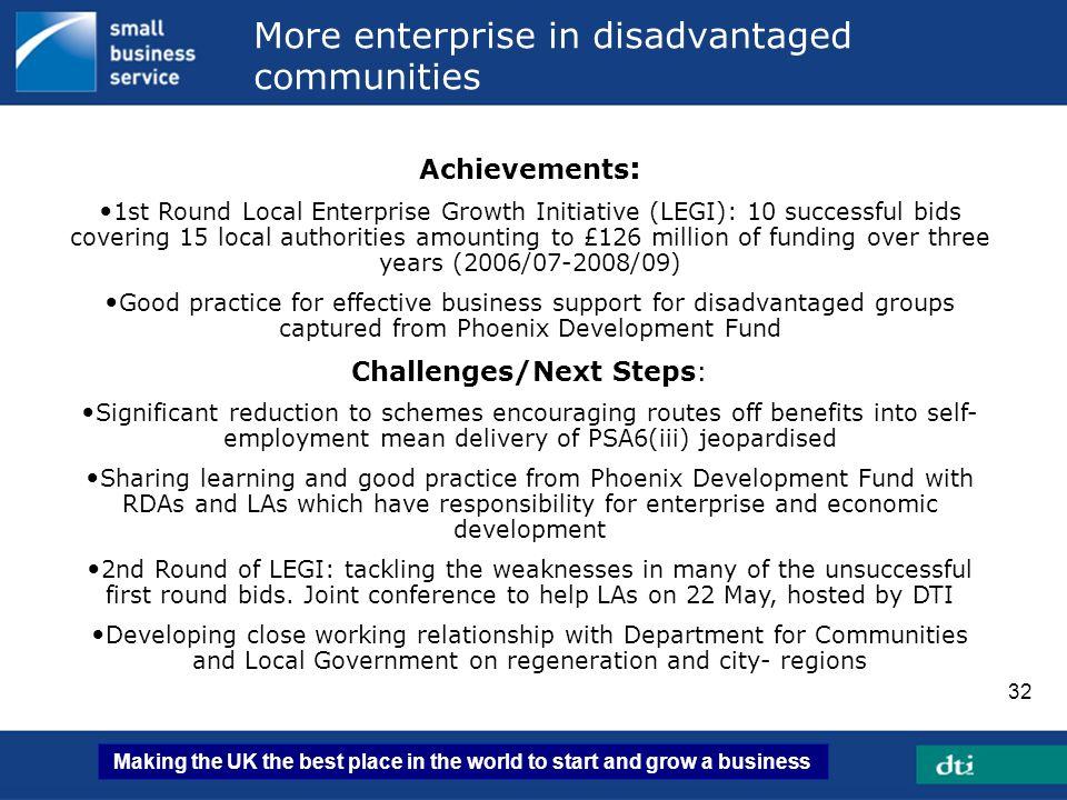 More enterprise in disadvantaged communities