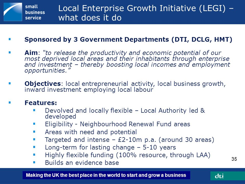 Local Enterprise Growth Initiative (LEGI) – what does it do