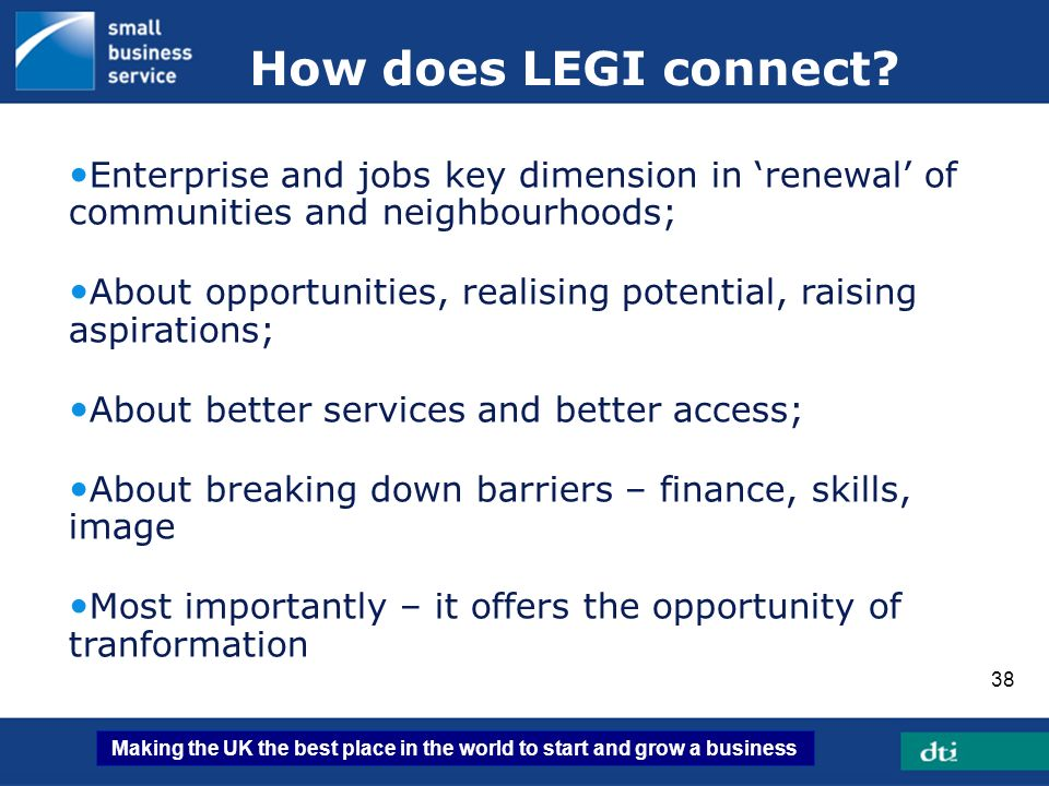 How does LEGI connect Enterprise and jobs key dimension in 'renewal' of communities and neighbourhoods;