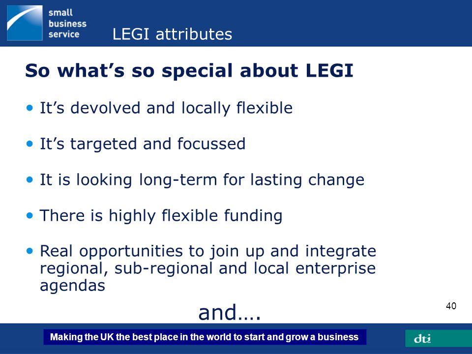 and…. So what's so special about LEGI LEGI attributes
