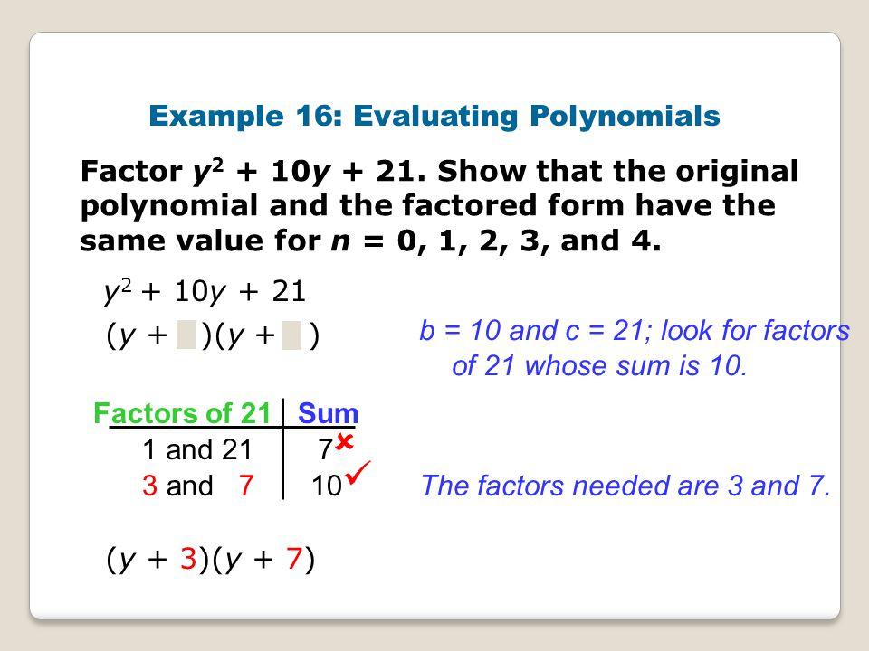 Example 16: Evaluating Polynomials