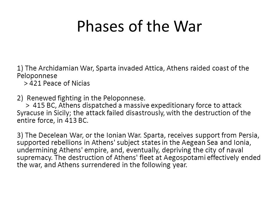 Phases of the War