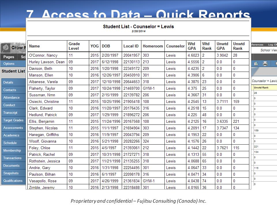 7. Access to Data – Quick Reports