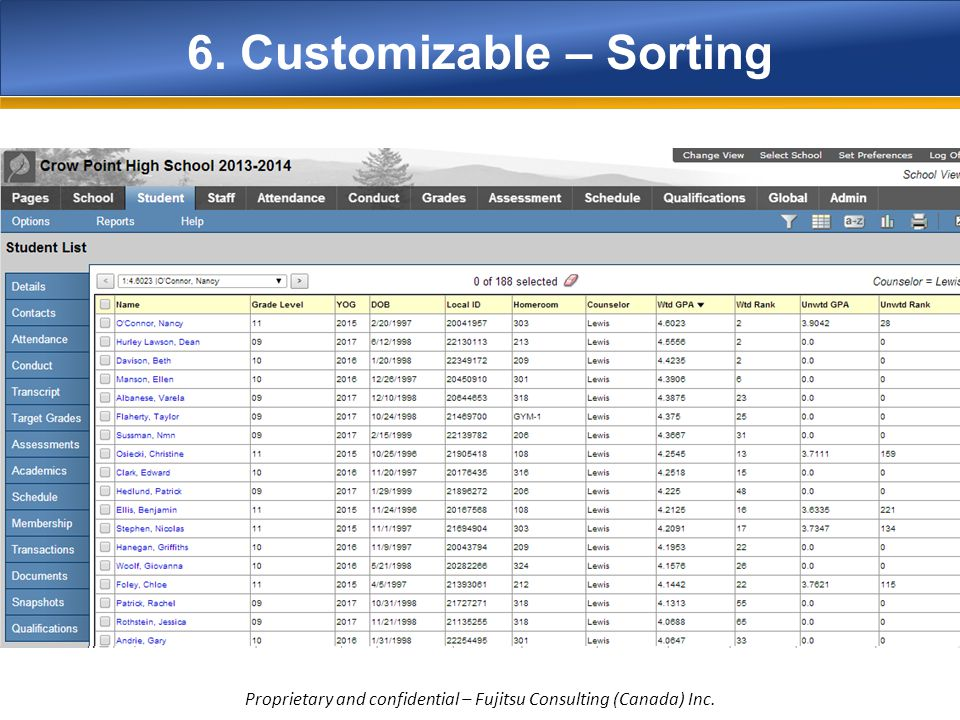 6. Customizable – Sorting